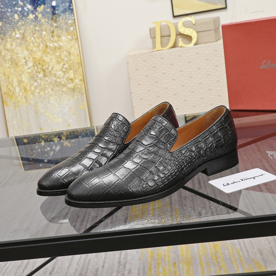 Replica High Quality Ferragamo Leather Shoes for Men